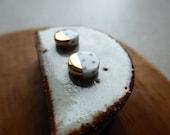 Gold Dip Indigo Polka Dot Round Disc Stud Earrings