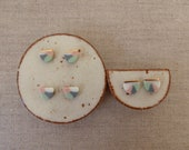 Layer Half Moon Disc Stud...