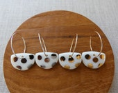 Polka Dot Halfmoon Hoop Earrings in Gold, White Gold or Copper