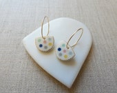 Polka Dot Inlay Hoop Earrings