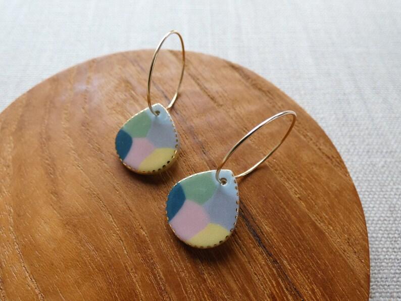 Multicolour Raindrop Hoop Earrings image 1