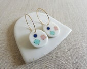 Inlay Gem Stone Earrings