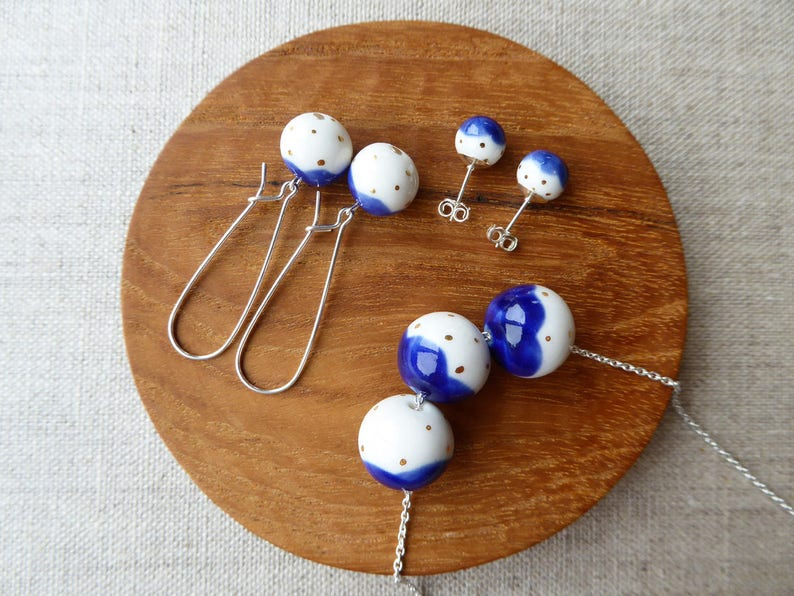 Gold Dot Snowball Kindney Wire Earrings image 0