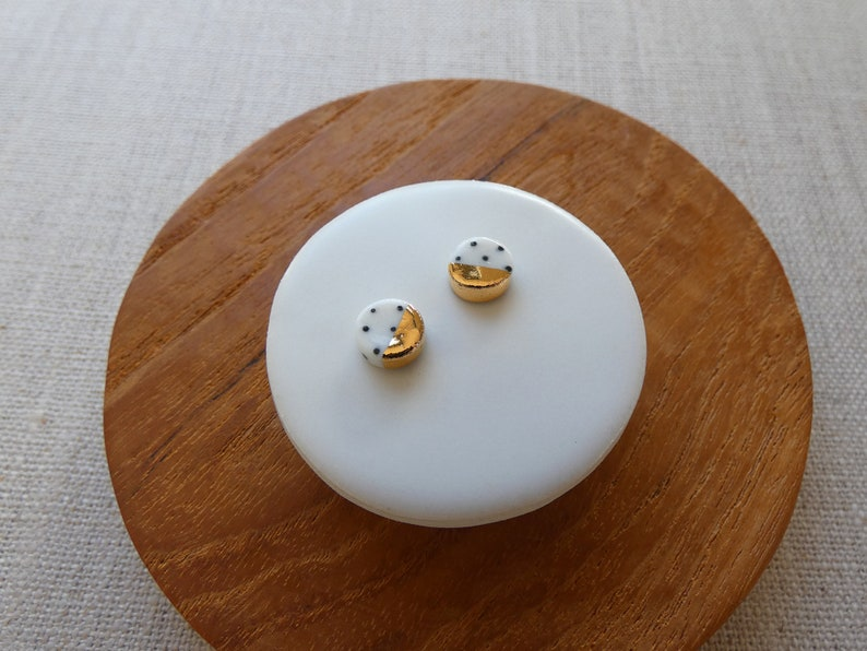 Gold Dip Polka Dot Round Disc Stud Earrings in Black or Indigo image 0