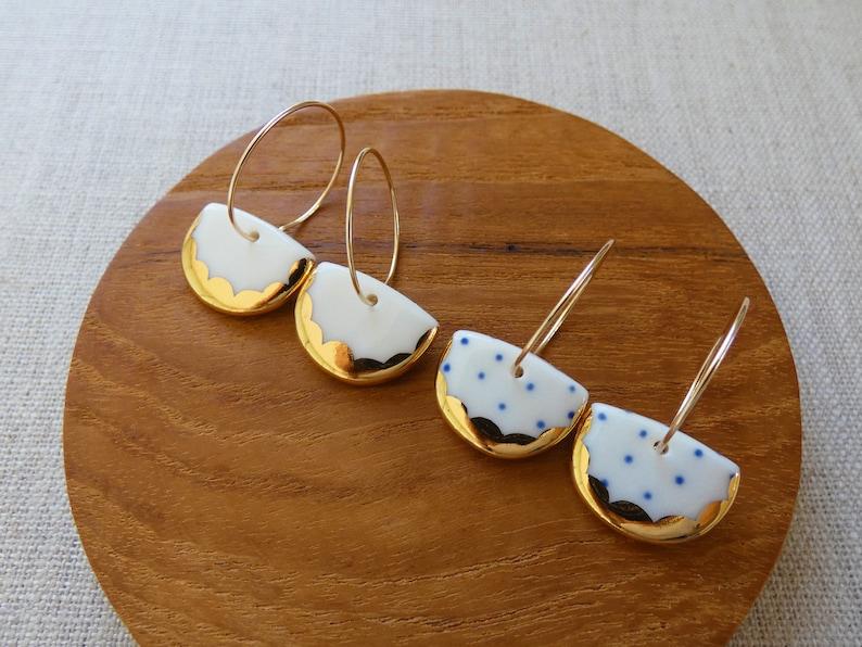 Lustre Scalloped Halfmoon Hoop Earrings in Gold or Copper image 0