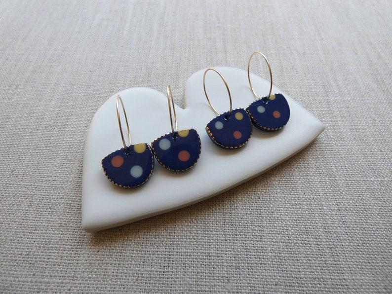 3 Dot Halfmoon Earrings image 1