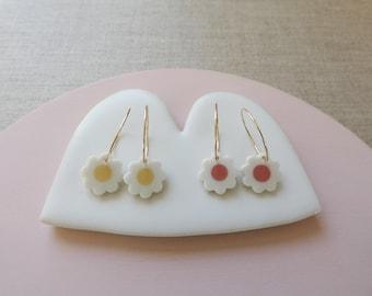 White Daisy Inlay Earrings