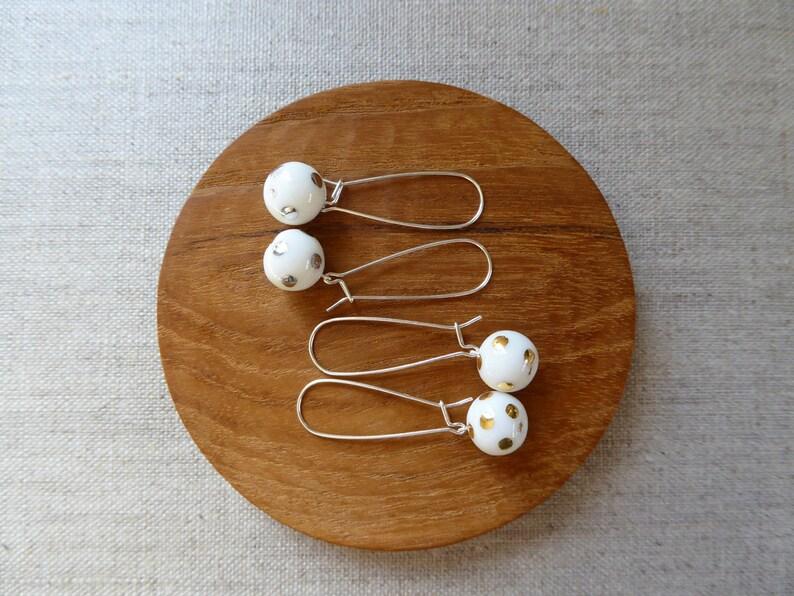 Lustre Polka Dot Kidney Wire Earrings image 0