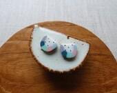 Gold Dot Watermelon Stud Earrings