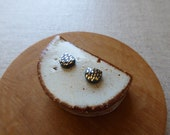 Small Gold Dash Half Moon Stud Earrings