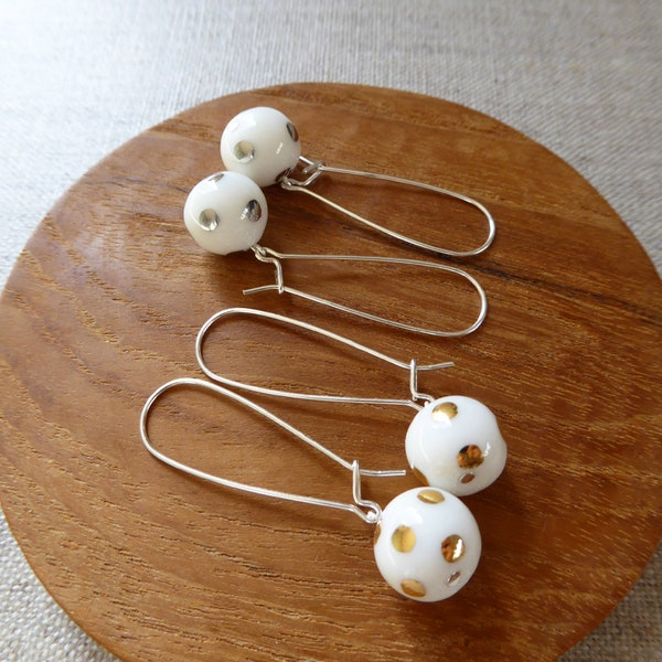 Lustre Polka Dot Kidney Wire Earrings image 1