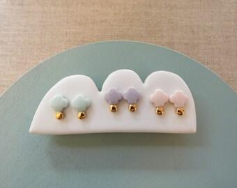 Ajisai Hydrangea & Gold Dot Stud Earrings