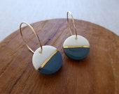 Gold Lined Half Moon Earrings in Steel or Khaki