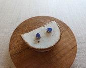 Small 2 Tone Starburst Raindrop Stud Earrings