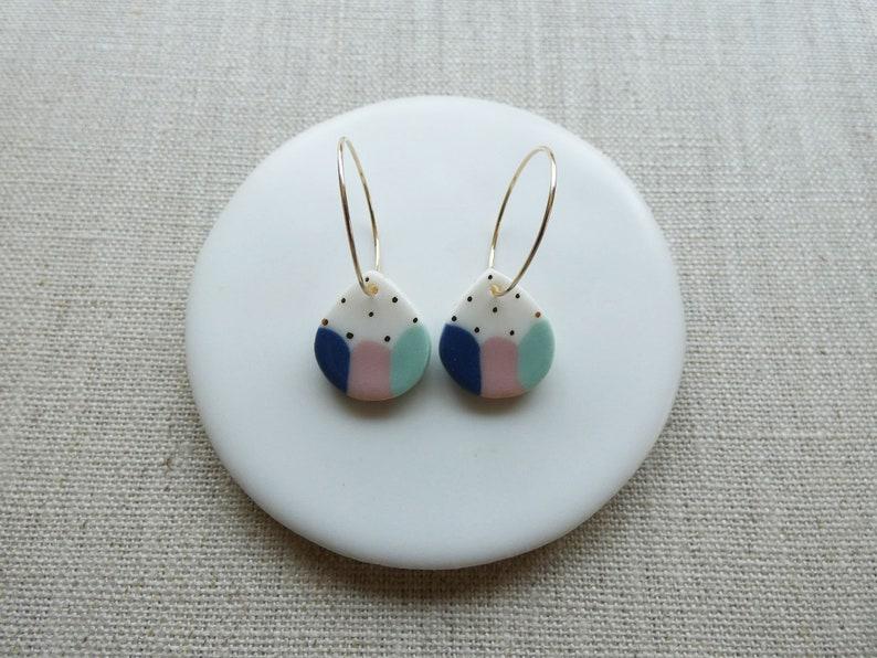 Dango Raindrop Hoop Earrings in 2 Colours image 0