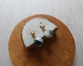 Gold Dot Trio Ball Dangle Stud Earrings