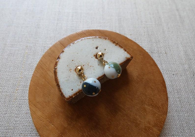 Gold Dot Trio Ball Dangle Stud Earrings image 0