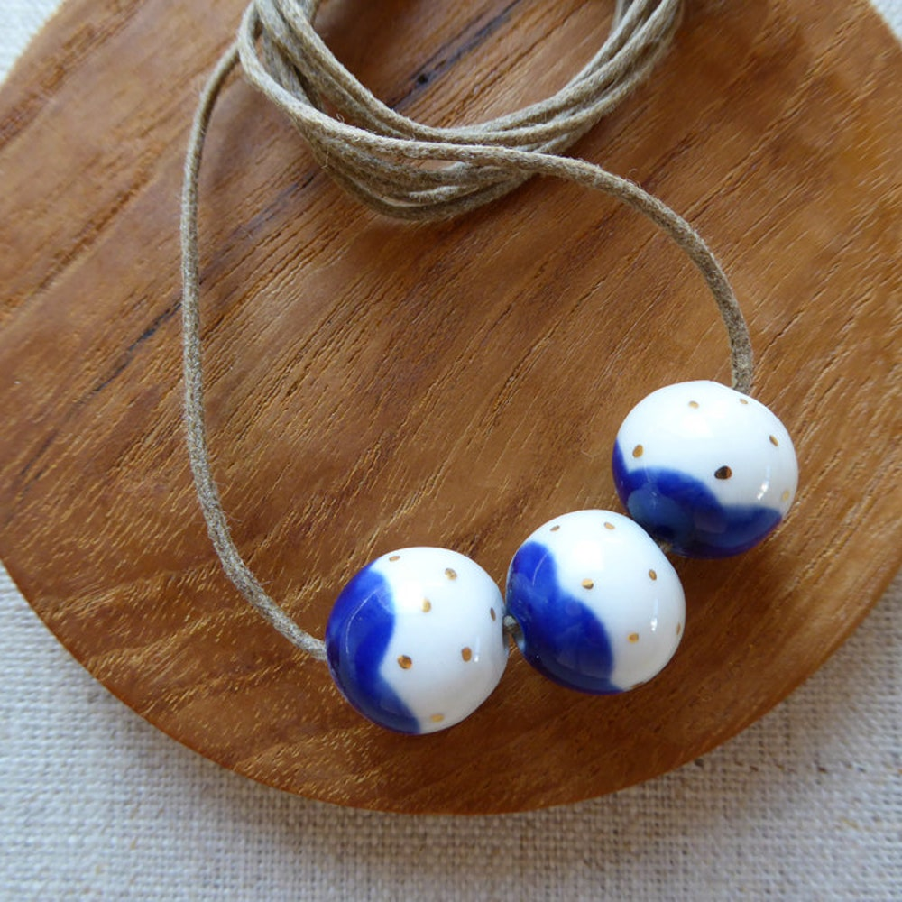 Gold Dot Snowball Bead Necklace image 0