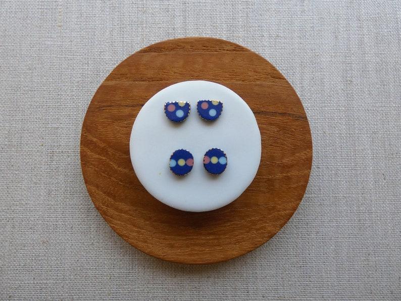 3 Dot Halfmoon Stud Earrings image 0