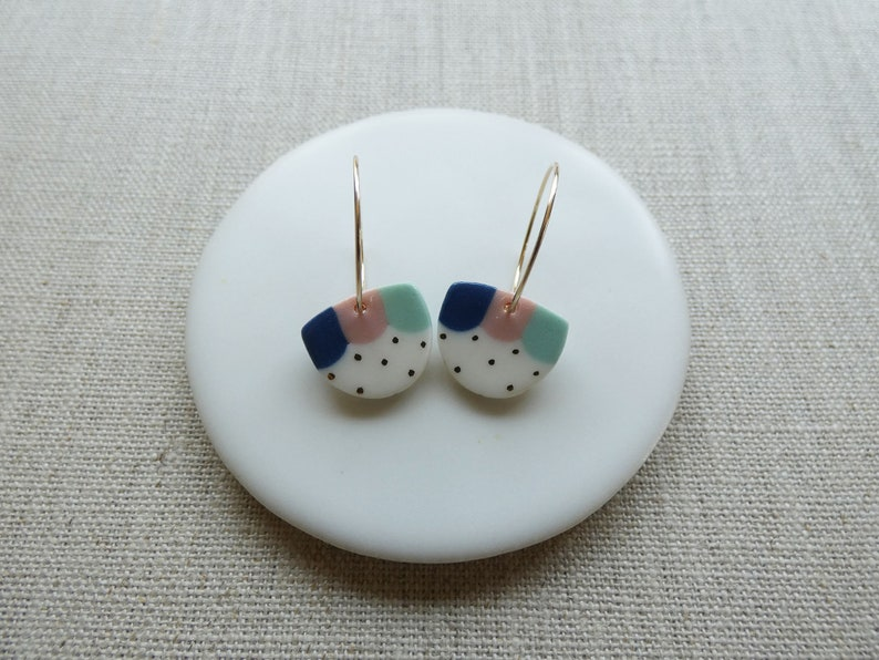 Dango Half Moon Disc Hoop Earrings image 0