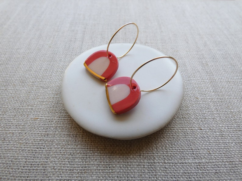 New Rainbow Earrings in Coral or Navy image 1