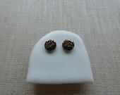 Gold Dash Stud Earrings in Indigo or Black