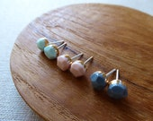 Small Faceted Gem Stud Ea...
