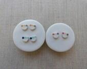 3 Dot Inlay Halfmoon Stud Earrings