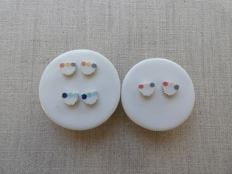 3 Dot Inlay Halfmoon Stud Earrings image 0