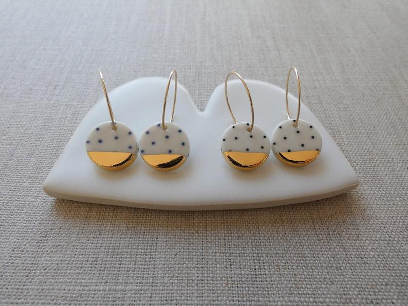 Polka Dot Gold Dipped M Disc Hoop Earrings in Black or Indigo image 1