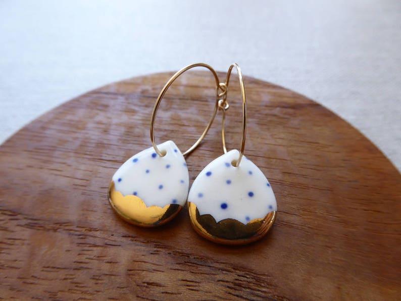 Indigo Dot Gold Scalloped Rain Drop Hoop Earrings image 0