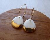 Gold Scalloped Rain Drop Hoop Earrings in Gold or Copper