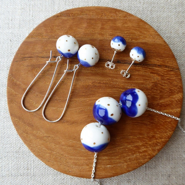 Gold Dot Snowball Bead Necklace image 2