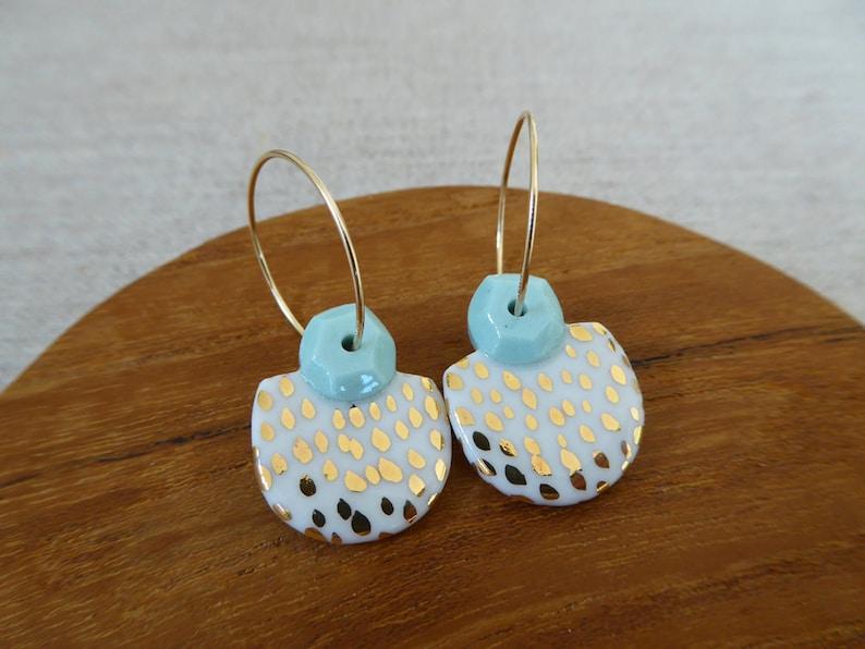 Gem and Speckled Half Moon Hoop Earrings image 0