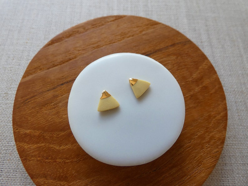 Small Mountain Triangle Studs with Gold Triangle Since2012 in image 0