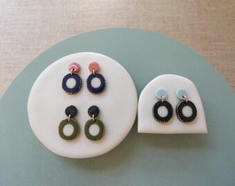 Moon & Donut Stud Earrings