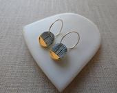 Yoroke Line Gold Dipped S Disc Hoop Earrings in Black or Indigo