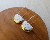 Indigo Dot Gold Scalloped Halfmoon Hoop Earrings