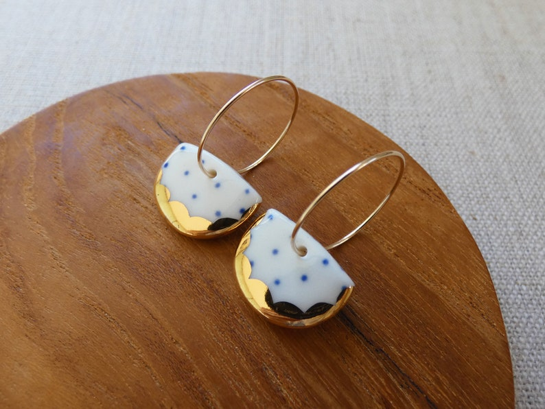 Indigo Dot Gold Scalloped Halfmoon Hoop Earrings image 0