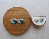 Layer Half Moon Disc Hoop Earrings