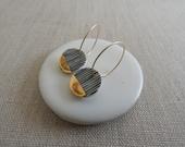 Yoroke Line Gold Dipped Earrings M Size in Black or Indigo