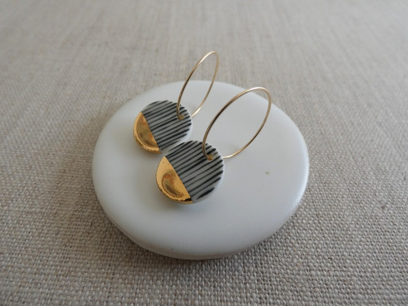 Yoroke Line Gold Dipped Earrings M Size in Black or Indigo image 0