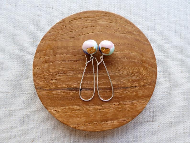 Watercolour Ball Kindney Wire Earrings image 0