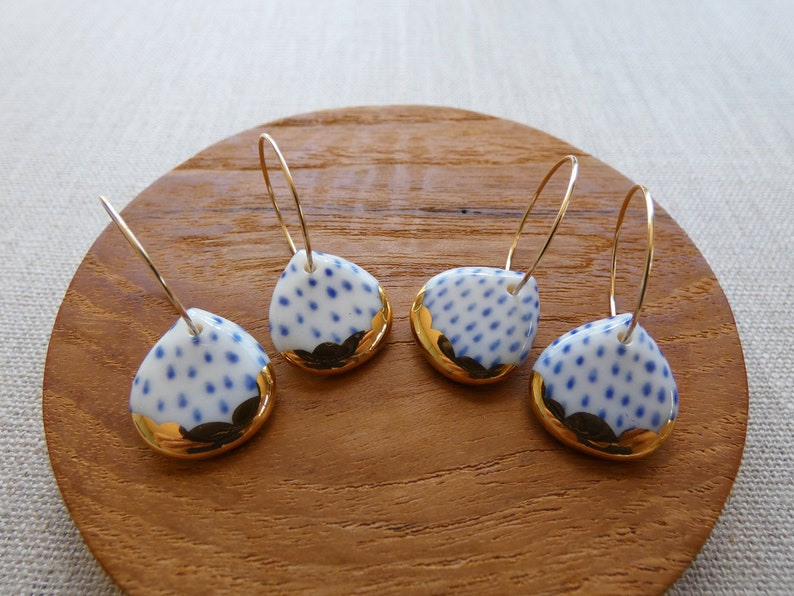 Indigo Dash Gold Scalloped Rain Drop Hoop Earrings image 0