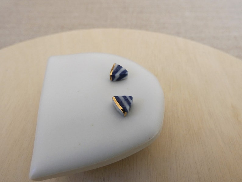Gold Lined Triangle Stud Earrings image 1