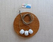 Watercolour Small Speckled Tube Necklace in Black