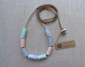 Hand Carved Tube Porcelain Necklace SALE