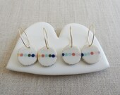 Multicolour Bead Inlay Oval Drop Earrings