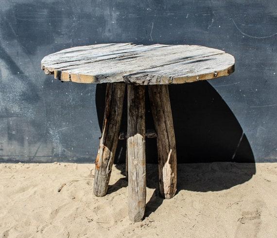 Table de jardin de bois flotté, Table rustique en chêne, personnage dérive  Table à manger en bois