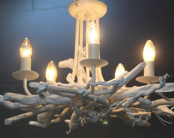 White Washed Driftwood chandelier, Driftwood light Fitting, White 5 light chandelier, White Washed  Pendant Drift Wood Chandelier